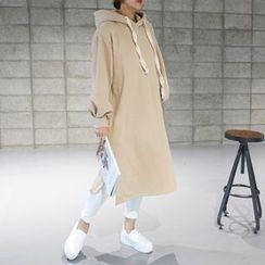 STYLEBYYAM - Drawstring Hooded Pullover Dress