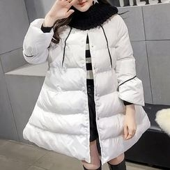 Honeydew - Plain Long Padded Coat with Knit Neck Warmer