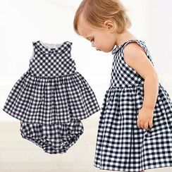 Cuckoo - Kids Set: Gingham Tank Dress + Shorts