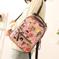 Canvas Love - Faux Leather Cat Print Backpack