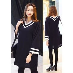 DEEPNY - V-Neck Loose-Fit Knit Dress