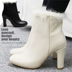Reneve - Faux-Fur Chunky-Heel Short Boots