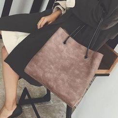 Aishang - 两件套: 仿皮手提袋 + 化妆包