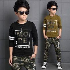 Pegasus - Kids Set: Letter Applique Long Sleeve T-Shirt + Camo Pants
