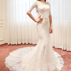 YACCA - Elbow-Sleeve Mermaid Long Train Lace Wedding Dress