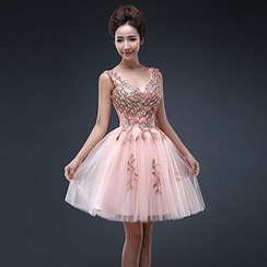 Efon - Embellished Sleeveless Mini Prom Dress