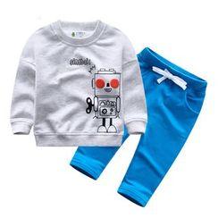 Endymion - Kids Set: Robot Print Pullover + Drawstring Pants