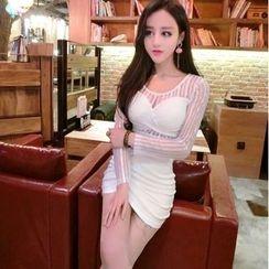 Mi Camilla - Sheer-Panel Bodycon Dress
