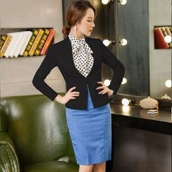 Aision - Set: Jacket + Dotted Shirt + Pencil Skirt