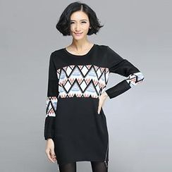 Lovebirds - Long-Sleeve Zipped Printed Dress