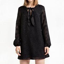 Richcoco - Bow Lace Long-Sleeve Dress