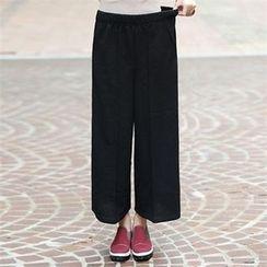 CHICFOX - Band-Waist Wide-Leg Pants