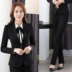 Princess Min - 套装:单扣西装外套 + 前细褶衬衫 + 裤/裙