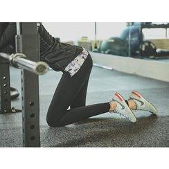 UUZONE - Floral-Trim Gym Leggings