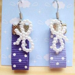 Fit-to-Kill - Hand made Purple spot cottons with ribbons earrings
