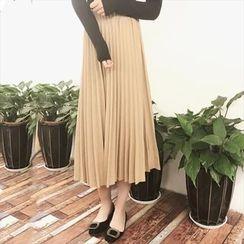 Moon City - Plain Midi Pleated Skirt