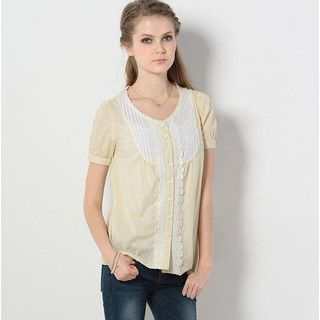 59 Seconds - Short-Sleeve Crochet-Trim Pintuck Top