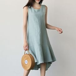 UPTOWNHOLIC - Sleeveless Ruffle-Hem Linen Dress