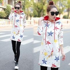 Ekim - Star Print Fleece-lined Long Hoodie