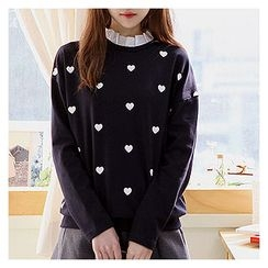 Sechuna - Frill-Neck Heart-Patterned Top
