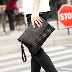 BagBuzz - Woven Faux Leather Clutch