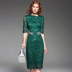 歐依潮派 - 五分袖水鑽蕾絲連衣裙