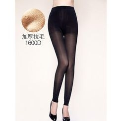 Moonbasa - Sheer Fleece-Lined Leggings