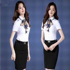 Aision - Tie-Neck Blouse / Pencil Skirt