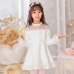 Candy Rain - Kids Mesh Panel Crochet Trim Long Sleeve Dress