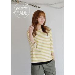 GOROKE - 3/4-Sleeve Embroidered Stripe T-Shirt