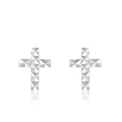 MaBelle - 14K White Gold Cross Stud Earrings