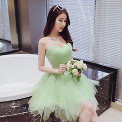 minako - V-neck Sleeveless Cocktail Dress