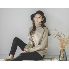 JUSTONE - Turtle-Neck Dip-Back Wool Knit Top