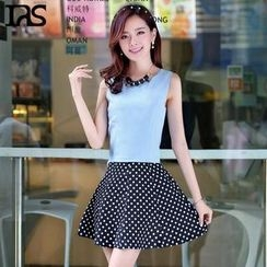 AiSun - Set: Sleeveless Top + Dotted A-Line Skirt+ Necklace