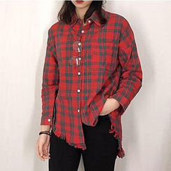 Dute - Plaid Fringed Blouse