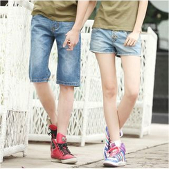 NoonSun - Couple Matching Denim Shorts / Skirt