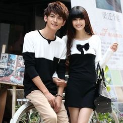 NoonSun - Couple Matching Color Block Long Sleeve T-Shirt/ Long Sleeve T-Shirt Dress