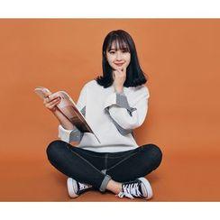 HOTPING - Color-Block Fleece-Lined Sweatshirt