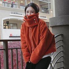 Seoul Fashion - High-Neck Faux-Shearling Jacket