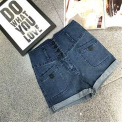 AIGIL - High Waist Denim Shorts