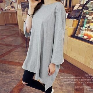 NANING9 - Oversized Round-Neck Drop-Shoulder T-Shirt