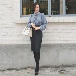 ode' - Slit-Front Seam-Detail Pencil Skirt
