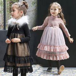Cuckoo - 童装长袖荷叶连衣长裙