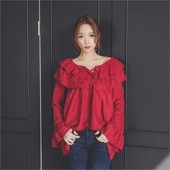 ERANZI - Tie-Front Frilled Top