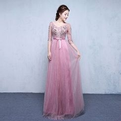 ZAKSKI - Embellished Lace Evening Gown