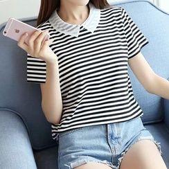 Tangi - Stripe Short-Sleeve Collared Top