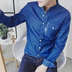 Bay Go Mall - Pocketed Stand Collar Denim Shirt