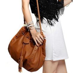 Auree - Tasseled Drawstring Bucket Shoulder Bag