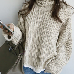 NANING9 - Turtle-Neck Rib-Knit Sweater