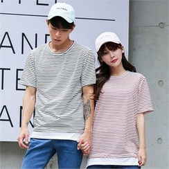 Superstar.i - Couple Layered-Hem Striped T-Shirt